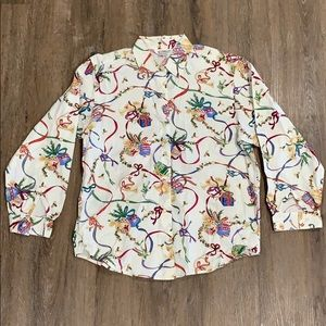 Talbots Long Sleeve Button Down Holiday Print-EUC